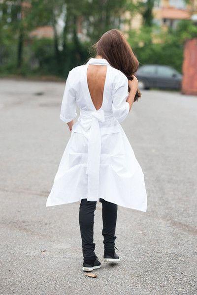 Short Sleeve Shirts – Asymmetric White Shirt / V Shaped Cutout Shirt – a unique product by METAMORPHOZAFASHION on DaWanda