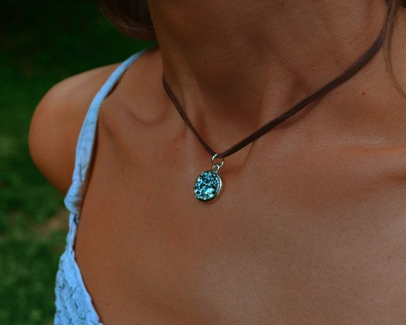 Water Button,  Bismuth Metal Crystal Pendant and Chain or Leather Necklace, Choker Jewelry