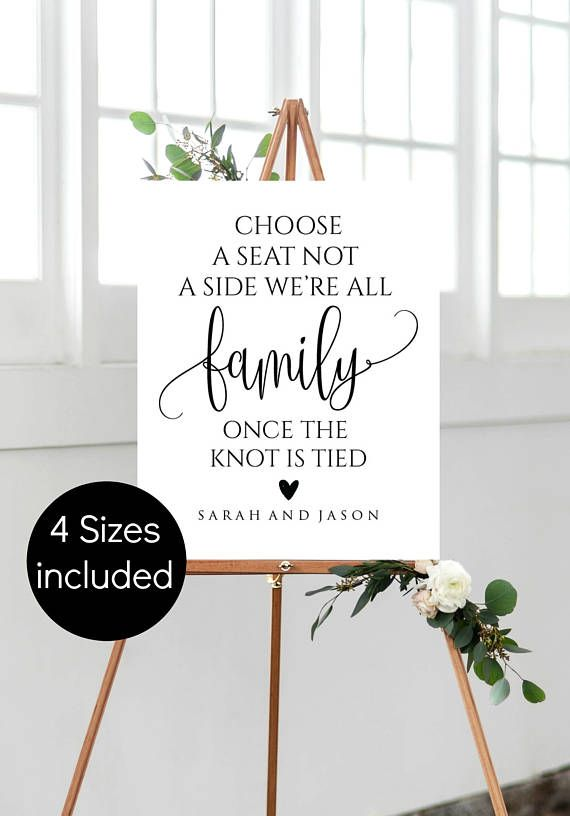 Choos a Seat not a Side Sign Printable Wedding Welcome Sign