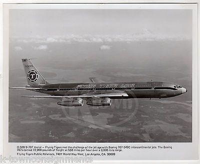 FLYING TIGER LINE BOEING 707 JET AIRLINER VINTAGE AVIATION ADVERTISING PHOTO