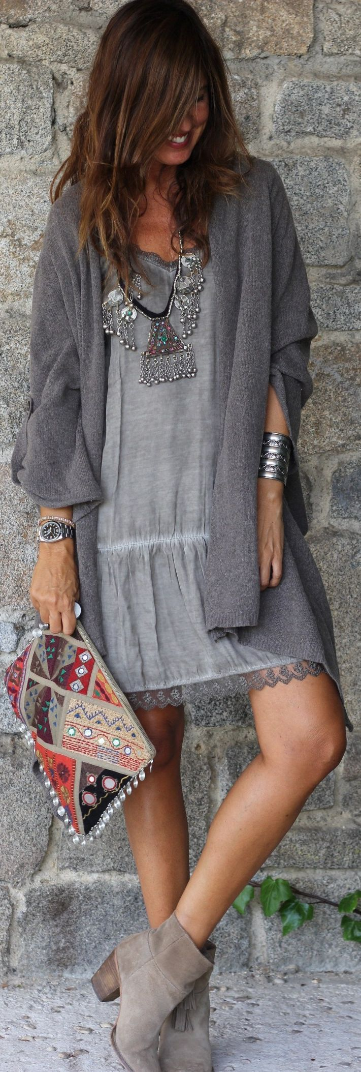 Grey Boho Shift Mini Dress Bag Booties and Accessories Look from Latest boho outfits.