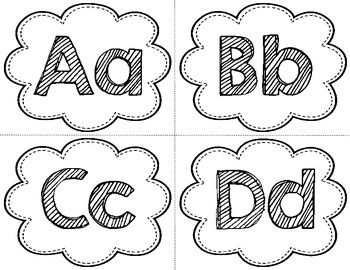 simple black and white alphabet headers ready to be printed on coloured paper
