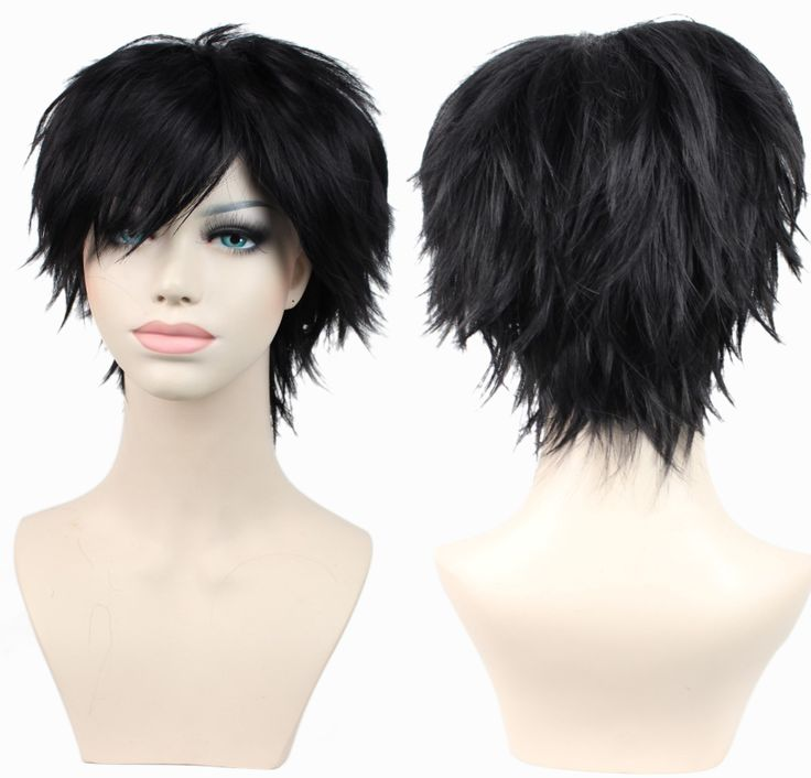 9colors short man&women unisex black red white curly synthetic hair anime cosplay wig peruca