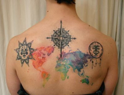 Old World Map Back Tattoo. Custom backpiece with a vintage inspired sun  moon and compass rose watercolor Earth TattooSun MoonWorld MapsCompass 90 best Tattoo Ideas images on Pinterest Aspen leaf Leaf