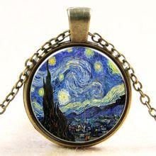 Mode temps pierre Vincent Willem Van Gogh célèbre tableau la nuit étoilée De Sterrennacht collier Steampunk Choker bijoux(China (Mainland))