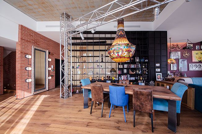 Dining area with an eclectic take on the backstage concept, with custom chandelier, Backstage concept - Apartment M, Bucharest
