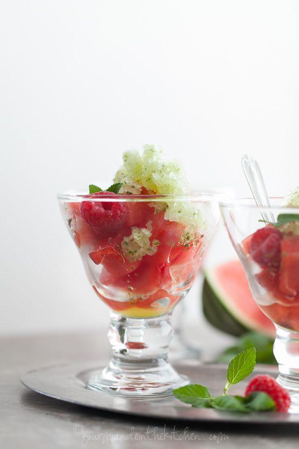 Fresh Mint Granita with Watermelon and Raspberries ...