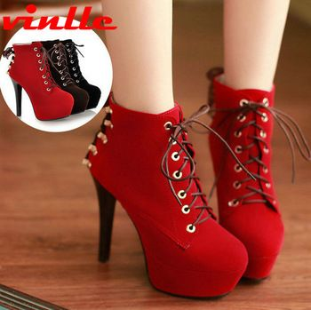 Women's Shoes Boots VINLLE Fashion Winter Women's Lace-Up High Heels Ankle  Short Boots motorcycle