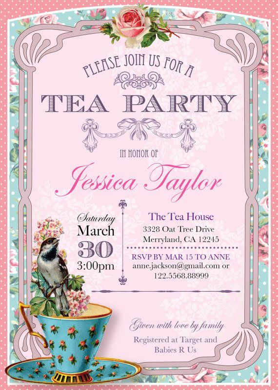 Printable High Tea Party Invitation. by ThePaperWingCreation …                                                                                                                                                                                 More