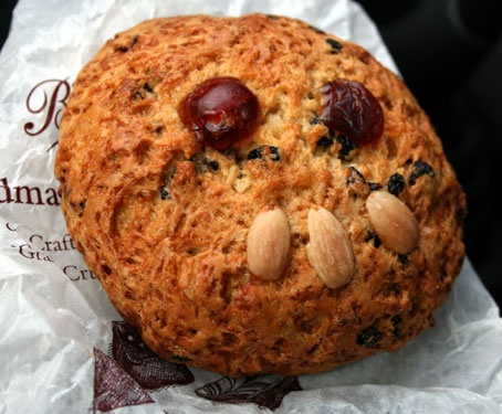 A fat rascal, also called the Yorkshire tea biscuit or turf cake, is a type of cake, similar to the scone in both taste and ingredients. The fat rascal often has no definitive shape and is relatively easy to make. First baked in Elizabethan times and originating in Yorkshire, it is considered a biscuit