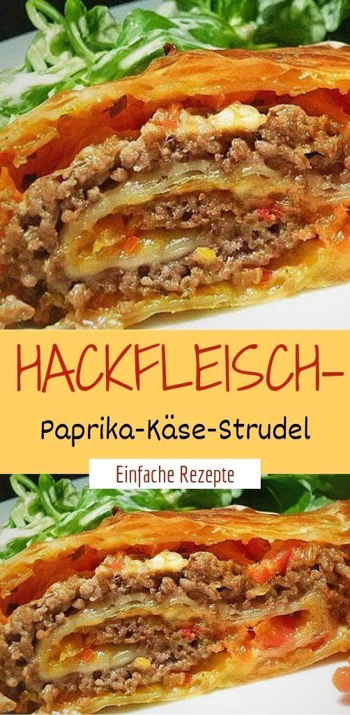 Hackfleisch-Paprika-Käse-Strudel