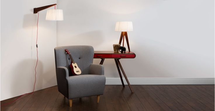 Miller Wall Lamp, Walnut and Red | made.com
