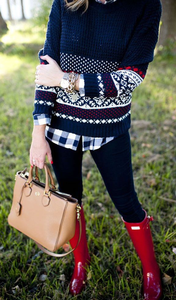 #fall #fashion / red boots + sweater