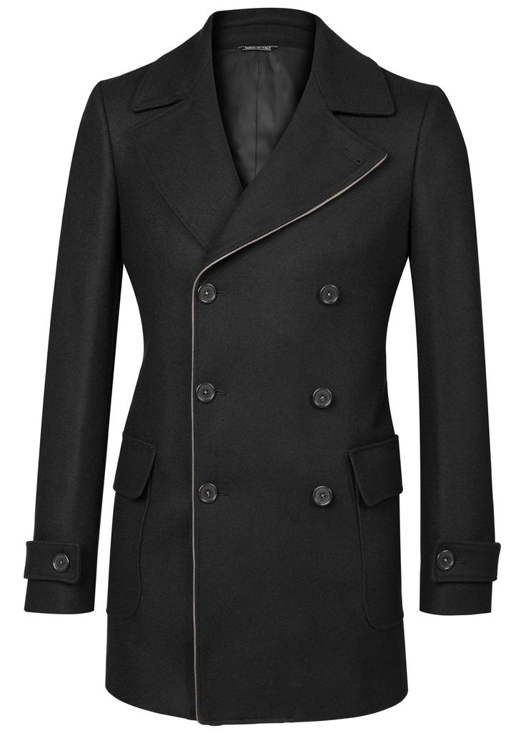 Black Piping Wool Coat: Crafted in Tuscany from warm heavyweight 100% Wool, this double breasted overcoat features contrast piping tracing the front panel and under collar. Belted cuffs and a functional back belt serve to tighten the areas - yielding a slimmer silhouette whilst a hidden button under the collar allows the coat to be fully buttoned to combat the colder weather! The interior comprises tone on tone viscose lining - traced by white pick-stitching with the button thread…