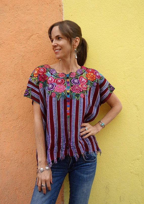 Handwoven Vintage Mayan Floral Textile Huipil Poncho from Patzun ... 68ae21397dda6