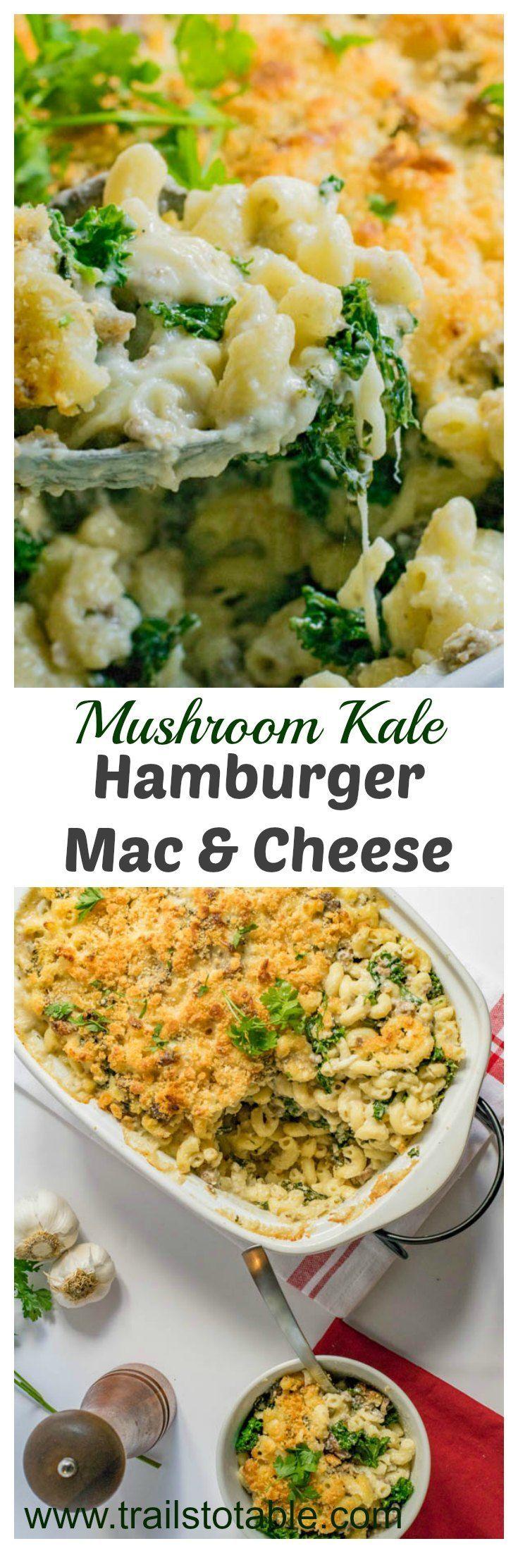 Mushroom Kale Hamburger Macaroni and Cheese. Sauteed mushrooms, kale, and hamburger combines to make the best baked macaroni and cheese ever!