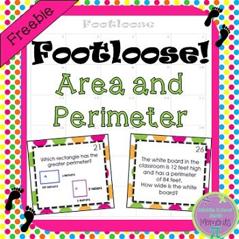 TPT_free Area and Perimeter Task Cards - Footloose Activity:Students love to play Footloose! Area and Perimeter Footloose includes 30 question cards about area and perimeter of rectangles (the cards are available with and without a background - same questions on both sets - just the option of a background when printing).