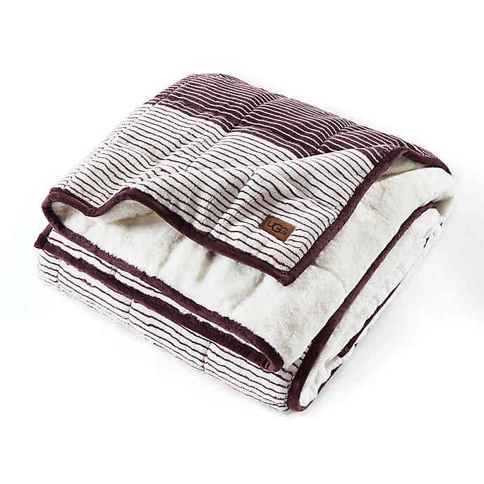 Ugg Serene Reversible Striped 12 Lb Weighted Throw Blanket Bed