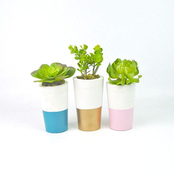 Dipped concrete succulent planters, available now at www.ifoundlove.com.au   (http://www.ifoundlove.com.au/tall-concrete-pot-set-peacock-pink-gold/)