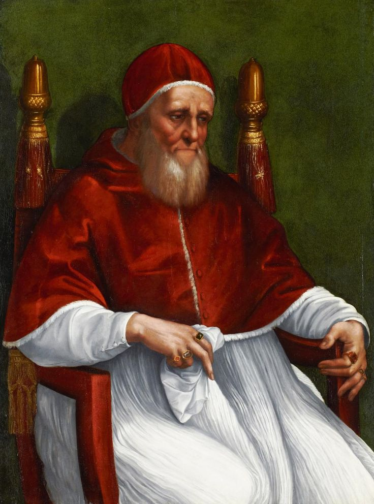 """Portrait of Pope Julius II // 1511-1512 // Raphael & Workshop //Summer of 1511,the Pope was in need of new,up-to-date portraits.The nearly 70 y.o. """"papa terrible""""–as he was respectfully dubbed by his opponents–had just recovered from a severe illness,but many doubted whether he was really well enough to administer his office.The politically significant commission for a new portrait went to Raphael,who was already busy working on the decorations of the papal apartments,the Stanze // Städel…"""