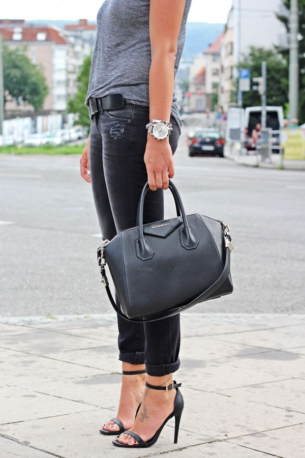 FashionHippieLoves: Black Jeans + Grey tie+ Givenchy bag