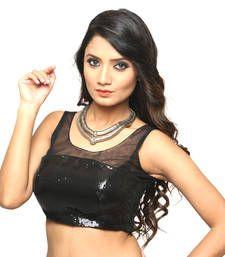 Buy Black net  embroidery  non padded readymade sleeveless blouse sleeveless-blouse online