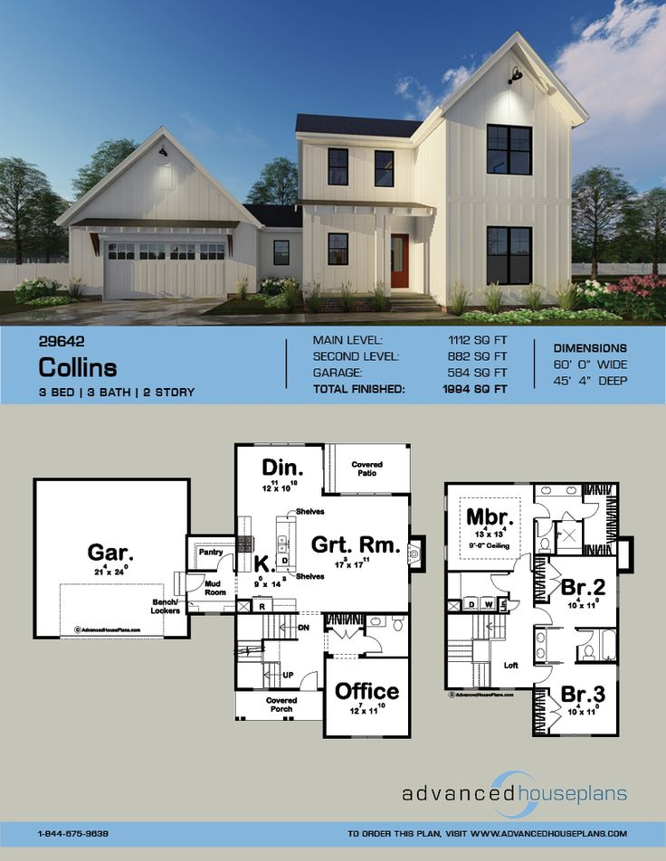 2 Story Modern Farmhouse Plan Collins in 2019 Modern