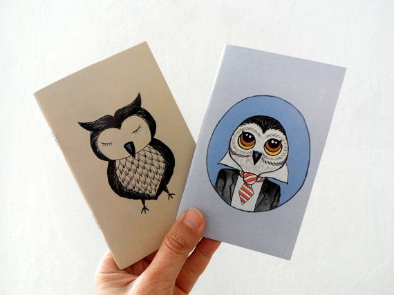 Mini Journal Set of 2 Owl  Mania illustrations by ShebboDesign, $14.00