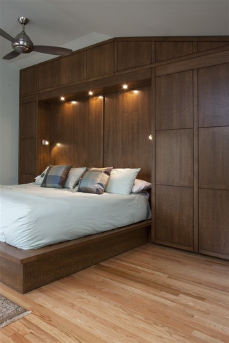 Bedwall with Built-in cabinet surround & hidden door modern bedroom   Bedroom CabinetsBedroom FurnitureFurniture IdeasHidden ...