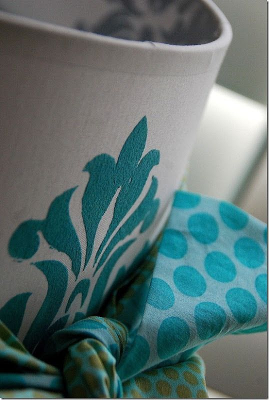 DIY stenciled lampshade with velveteen paint