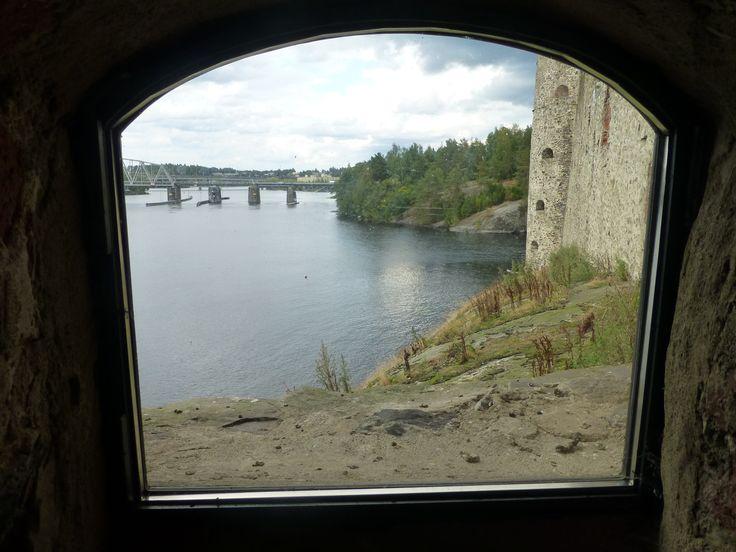 Part of Savonlinna seen through a window in the castle