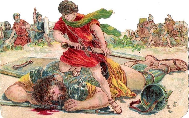 Oblaten Glanzbild scrap die cut chromo religiöse Szene 15cm  religious David