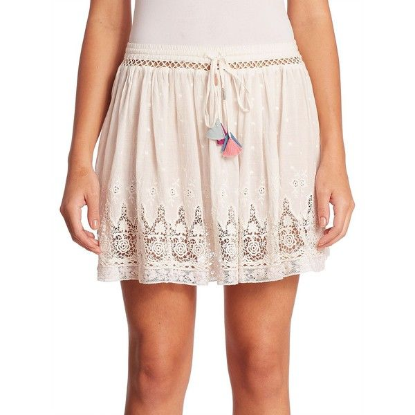 LOVESHACKFANCY Phoebe Cotton Lace Trim Skirt ($184) ❤ liked on Polyvore featuring skirts, apparel & accessories, flower print skirt, pink lace skirt, long skirts, floral print long skirt and floral lace skirt