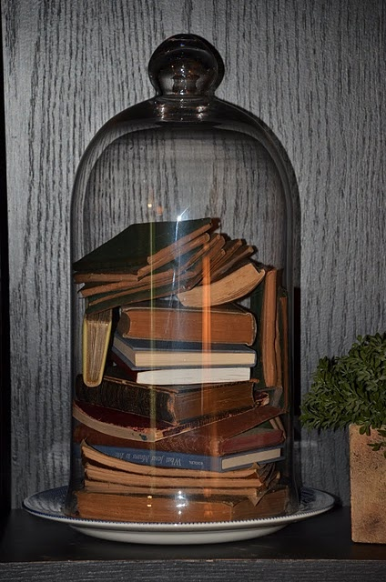 Cloche filled with vintage books: Vintage Books, Belle Jars, Oak Bookca, Southern Inspiration, Cloche Domes, Cloche Ideas, Books Cloche, Bookca Updates, Cool Ideas