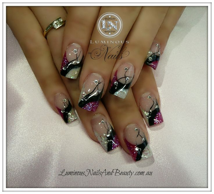 black+acrylic+nails | .+Acrylic+Nails,+Gel+Nails,+Sculptured+Acrylic+with+Rainbow+Black ...