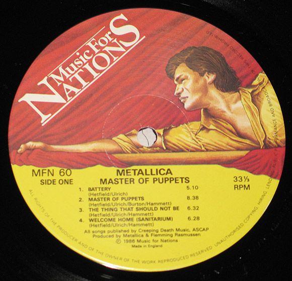 Music for Nations!!!...no sé por qué, pero le tengo cariño a este sello que sacó los primeros discos de Metallica. Esta imagen es del vinilo Master of Puppets. Ver al tipo de la bandera roja mientras escuchas Disposable Heroes era como sentirte en primera linea de batalla a punto de atacar al enemigo  :O)