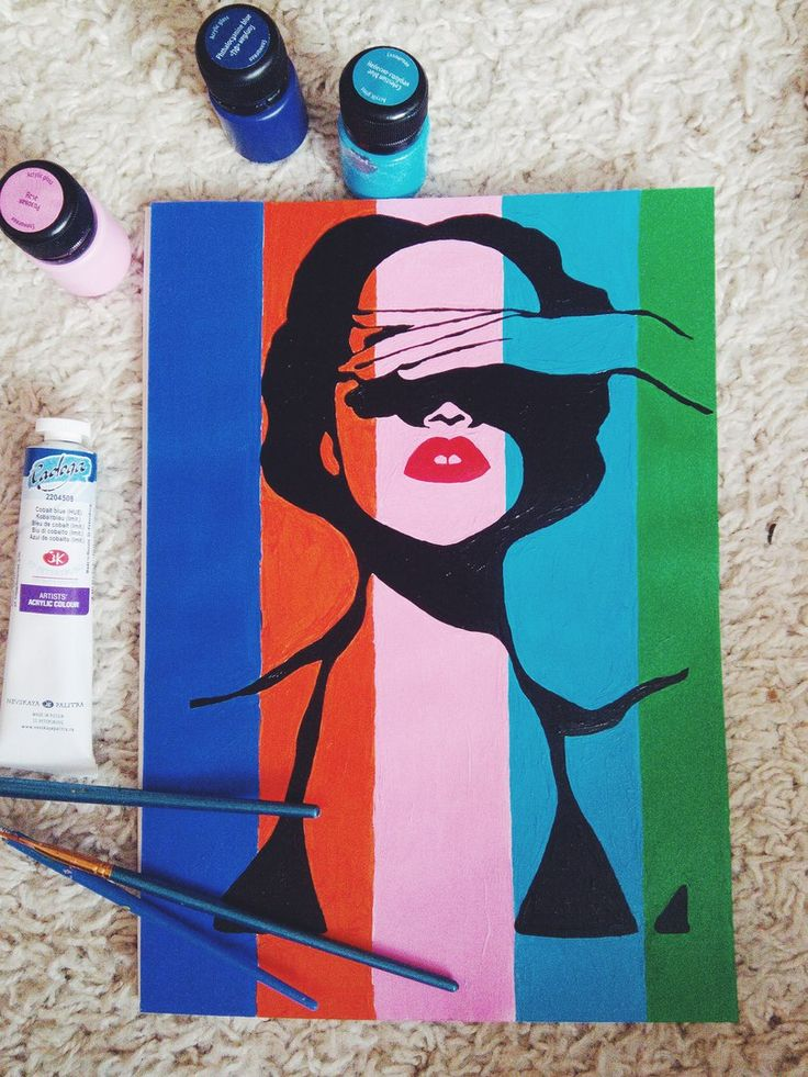 """Постер """"Девушка"""" в формате 30*21 см. Нарисован акриловыми красками"""
