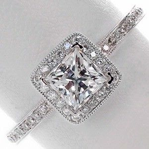 Princess cut diamond halo engagement ring - i am in love @savannahjayd make sure my future husband sees this lol