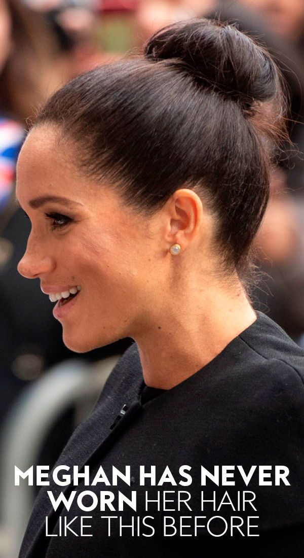 Hair Markle Meghan Worn Meghanmarkle Has Never Worn This Hairstyle Before Topknot Highbun Me Meghan Markle Hair Royal Hairstyles Cool Hairstyles