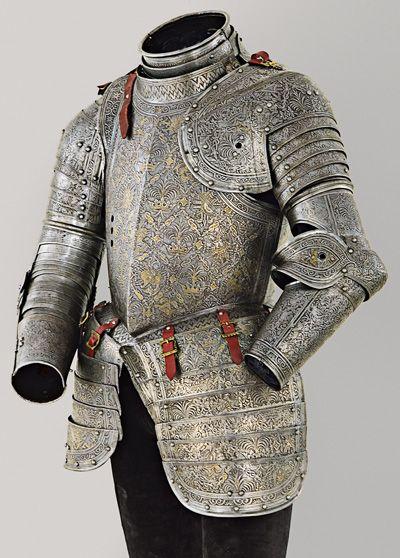 Armor of Emmanuel Philibert of Savoy, Milan, c. 1606 etched and gilt steel Patrimonio Nacional, Real Armería, Madrid