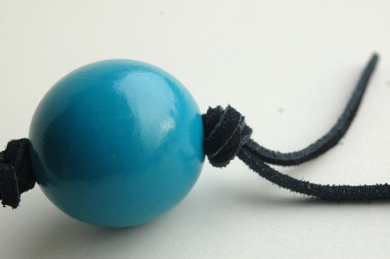 Blue keychain of wooden bead and leather cord by TinyLabShop  #keychain #handmade #blue #wood #bead #leather