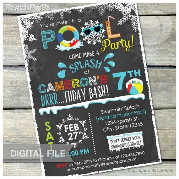 winter pool birthday party chalkboard invitation snow