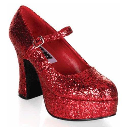 Ideaal voor uitgaan en voor thema kostuums. Met deze rode glitter schoenen voor dames maak je op elk feest de blitz. Bestel je schoenen in onze glitter schoenenwinkel.