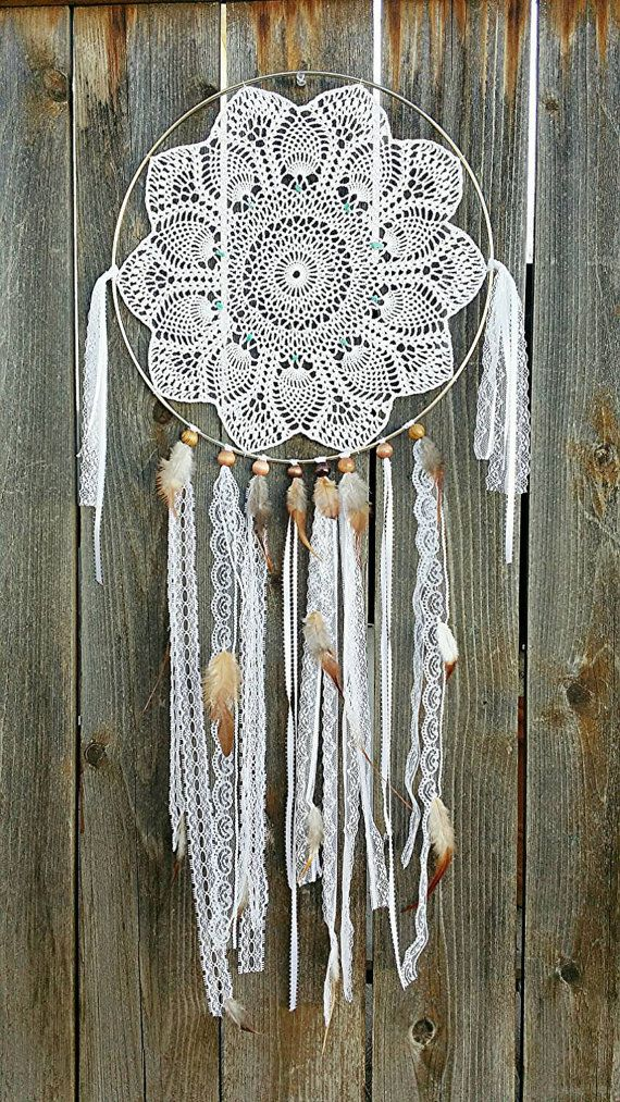 """This beautiful handmade dream catcher is hand crafted using real turquoise and 100% hand crocheted doily. 14"""" amazing detail!"""