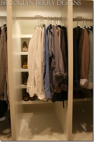 For my deep closet nook...put a shelf at the back and then a rod closer to the front.