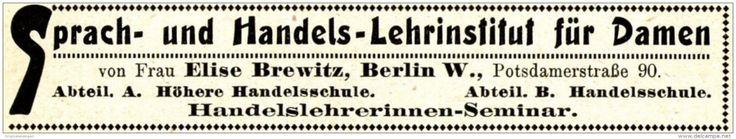 Original-Werbung/ Anzeige 1915 - LEHR - INSTITUT FÜR DAMEN / BREWITZ - BERLIN - ca. 115 x 20 mm