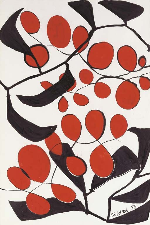 Alexander Calder,   Untitled,   gouache and ink on paper,  43¼ x 29½ in. (109.8 x 74.9 cm.)  Painted in 1976.