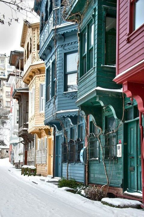 Istanbul streets under snow.
