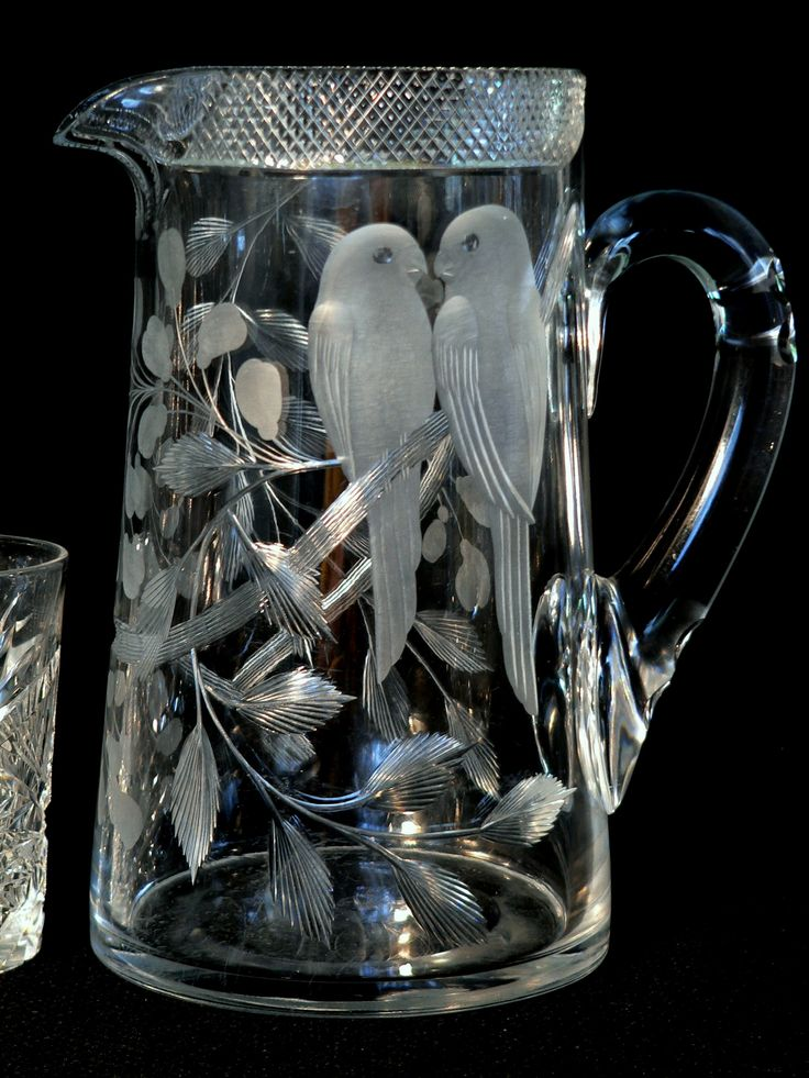 "American brilliant cut glass, Libbey, ""Love Birds""motif, 9"" t"