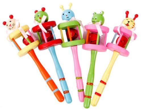 Кэндис го деревянные игрушки деревянные погремушки мобильные обучающие детские подарок на день рождения кольцо колокол звериный стиль красочные рождественские игры 5 шт./лот